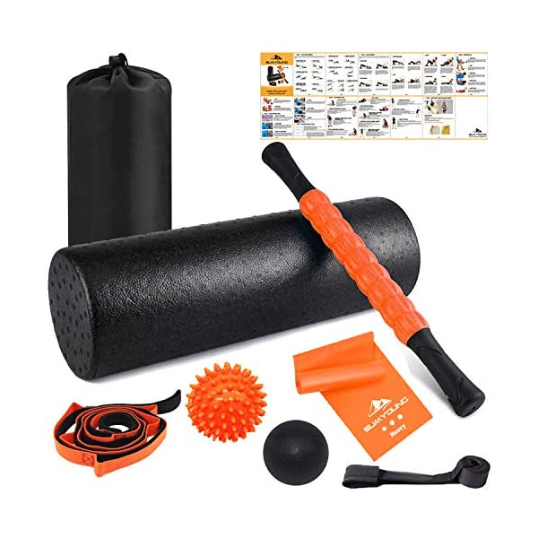 Foam Roller Set, 8 in 1, 18″ Muscle Foam Roller with Muscle Roller Stick,Spiky Massage Ball, Solid Ball, Stretching Strap, Resistance Band and Door Anchor, Perfect for Pain & Tightness Relief Home Gym