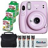Fujifilm Instax Mini 11 Instant Camera - Lilac Purple (16654803) + 3x Packs Fujifilm Instax Mini Twin Pack Instant Film + Batteries + Case - Instant Camera Bundle