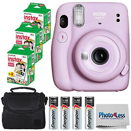 Fujifilm Instax Mini 11 Instant Camera - Lilac Purple (16654803) + 3x Packs Fujifilm Instax Mini Twin Pack Instant Film + Batteries + Case - Instant Camera Bundle