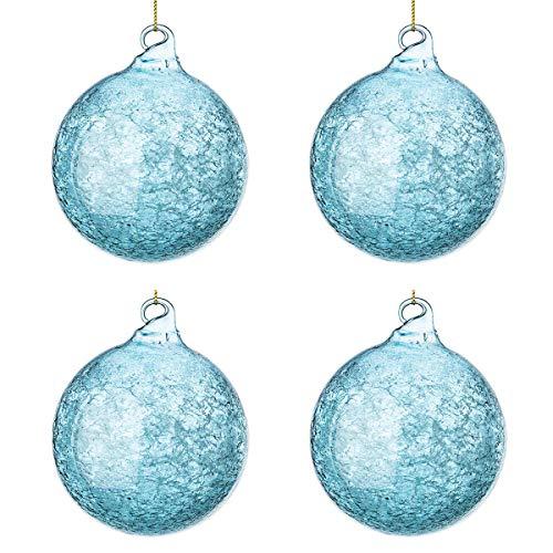 BIZZOTTO Palle di Natale Vetro Trasparente Azzurre Mare, Addobbi Natalizi per Albero (100 mm)