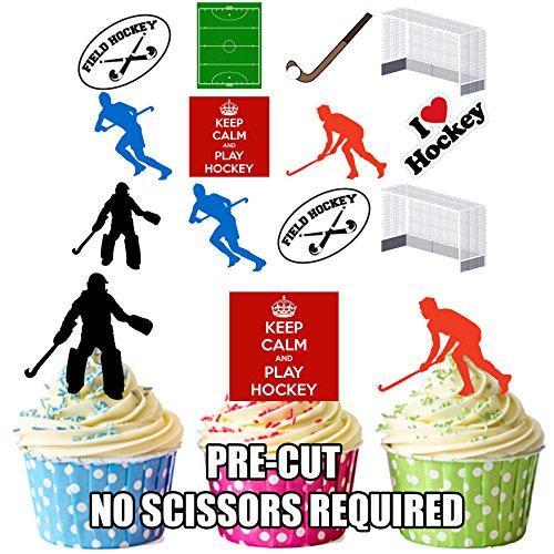 Field Hockey Pack Kuchen Dekorationen–36Essbar Stand-up Cupcake Topper