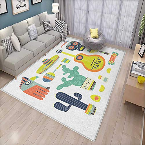 Fiesta, Extra Large Area Rug, Symbols from Mexico Guitar Face Aztec Mask Tequila Skull Musical Instruments Taco, Area Rug Office 6'6'x10' Multicolor