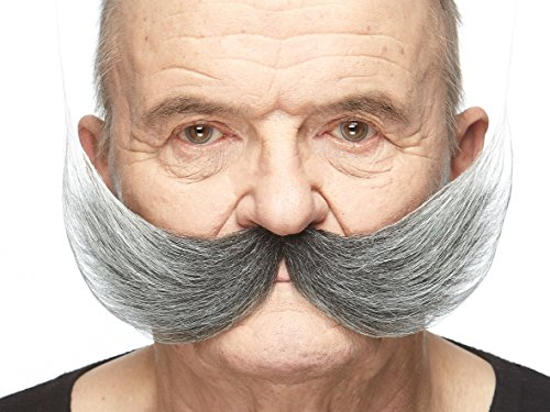 Mustaches Self Adhesive Fake Mustache, Novelty, Fisherman's False Facial Hair, Costume Accessory for Adults, Salt and Pepper Color