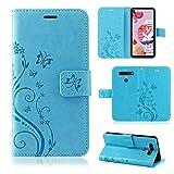 betterfon | LG K51S Hülle Flower Hülle Handytasche Schutzhülle Blumen Klapptasche Handyhülle Handy Schale für LG K51S Blau