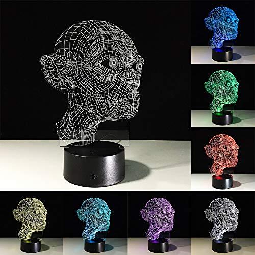 Lámpara LED 3D USB Terror Decoración de fiesta temática Mareos Atmósfera horrible Cambio de luz nocturna