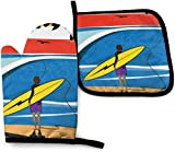 MODORSAN Astrological Signs Moon and Sun Zodiac Oven Mitts and Pot Holders Sets Heat Resistant Kitchen Polyester Set for Cooking,Baking,Grilling-Surf Art Silhouette