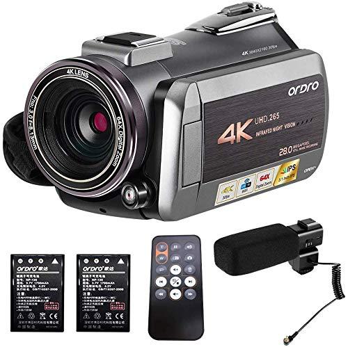 4K Camcorder, ORDRO Camcorder 4K/30fps Videokamera YouTube Vlogging Kamera WiFi IR Nachtsicht 64X Digitalzoom mit Stereo Mikrofon