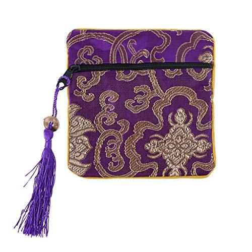 Pequeñas bolsas de regalo para el presente, bolso clásico chino de la joyería del bordado de la bolsa tradicional de la borla de seda