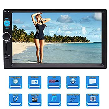 EINCAR Double Din Car Radio Stereo 7  Capacitive Touch Screen MP5 Multimedia Player with FM Radio Bluetooth USB TF GPS SWC Subwoofer 1080P Video+ Rear View Camera&Remote Control