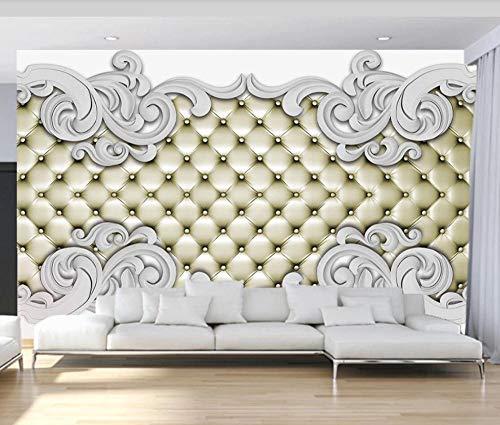 Wall Mural Wallpaper 3D White Plaster Pattern Soft Pack Living Room Bedroom Tv Background Wallpapers Decoration Art 350cm×256cm