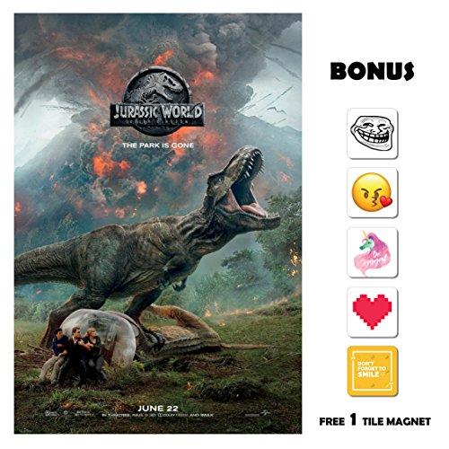 Jurassic World 2 Fallen Kingdom Movie Poster 13 in x 19 in Poster Flyer Borderless + Bonus 1 Free Tile Magnet