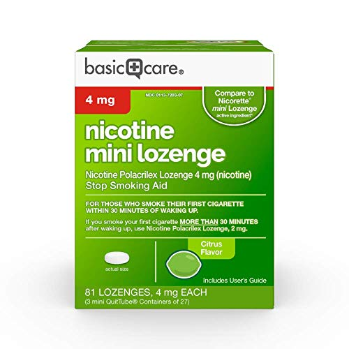Amazon Basic Care Mini Nicotine Polacrilex Lozenge, 4 mg (nicotine), Citrus Flavor, Stop Smoking Aid, 81 Count