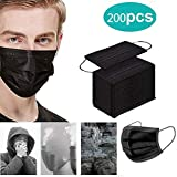 200PCS 3-Layer Face Bandanas, Disposable Face Covers, Activated Carbon Facial Tissues for Men and Women, Earmuffs, Black