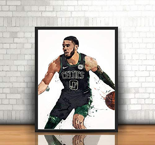 Jayson Tatum Poster, Canvas Boston Celtics Wall Art Decor, Gym, Home Living, Kids, Gift, Basement, Office, Mancave, Splash Paint - (Premium Print 8x10)- Portrait