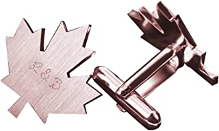 925 Sterling Silver Personalized Male Cufflinks Maple Leaf Shape Custom Made with Any Initials
