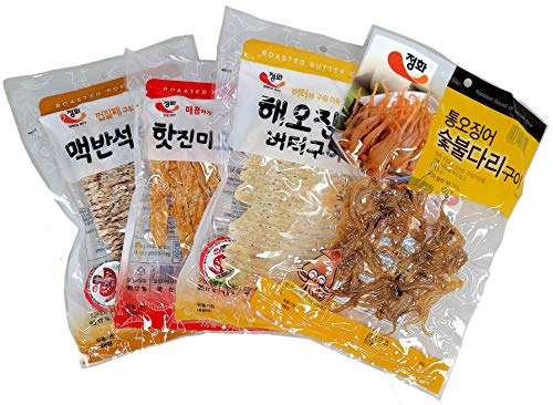 Roasted Squid Snack (4 Pack) / Dried Squid / Seafood Jerky / Squid Jerky (MIX)
