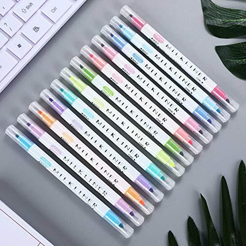Textmarker von BE-TOOL Doppelkopf-Textmarker, Textmarker, Kopftextmarker, Regenbogen-Pastell-Textmarker für Studenten, Büro, Klassenzimmer, verschiedene Farben (12 Farben)