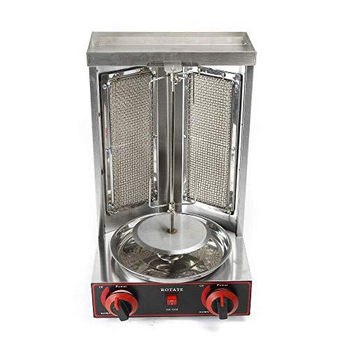 3KW Edelstahl Dönergrill Kebap Grill Gyrosgrill Gas Grill Döner 2 Brenner bbq Tischgrill 110 V 295 * 300 * 480 mm Hähnchengrill, Vertikalgrill, Drehgrill mit Drehspieß