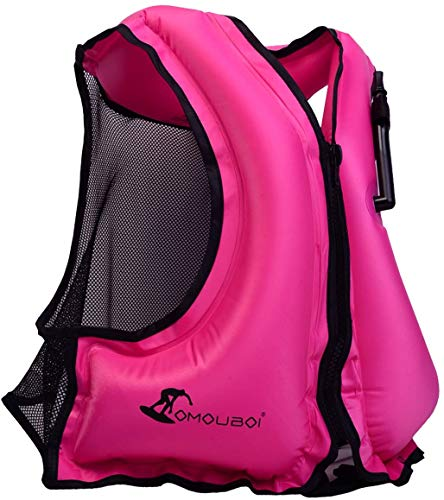 OMOUBOI Inflatable Snorkel Vest Kayak Inflatable Buoyancy Vest for Adults Snorkel Jackets for Swimming Snorkeling Paddling Boating Water Sports Beginner Adults-Only 98-220 lbs