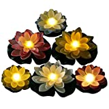 Best Floating Pool Lights - Pack of 6, Battery Operated Mixed Color Lotus-Warm Review