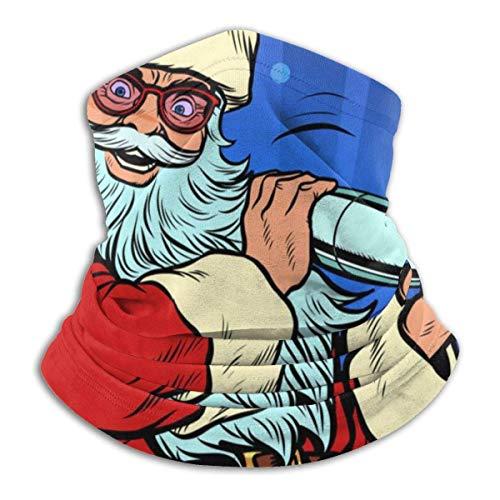 Ewtretr Santa Claus macht Weihnachtscocktail mit Eis Winter Fleece Hals Gamasche Halswärmer Gesichtsmaske im Freien