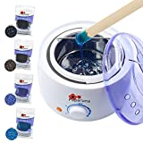 Wax Warmer Waxing Kit for Hair Removal at Home – Adjustable Temperature Wax Heater – Four 100g Bags Hard Beans, Wax Beads, Application Spatulas Included – Vented Cover – Auto Shut-Off Function
