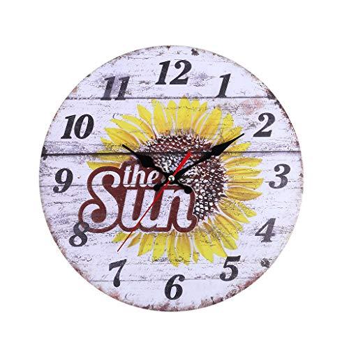 catmoew Wanduhr, Holz Küchenuhr mit großem Ziffernblatt aus, Retro Uhr im angesagtem Shabby Chic Design mit leisem Quarz-Uhrwerk (Sonnenblume)