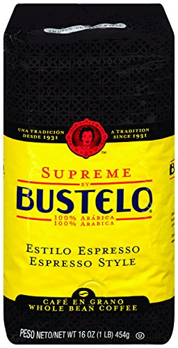 Supreme By Café Bustelo Coffee, Whole Bean Espresso Style Coffee, 16 Ounces, 8 Count