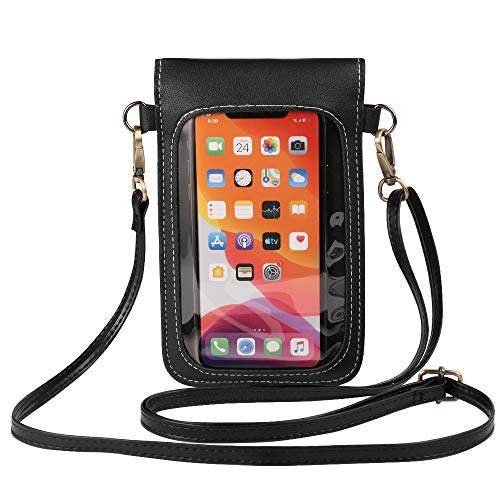 Touch Screen Cell Phone Purse Pouch with Clear Window Pockets Faux Leather Crossbody Shoulder Bags Wallet Holder for Samsung Galaxy S20 / LG Stylo 5, 4 Moto G Power G8 Plus G7 Play Pixel 4 XL 3a XL