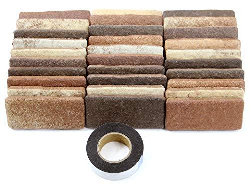 軽量レンガタイル かるかるブリック Sサイズ(ミニサイズ) 30枚入両面テープ付 MB-234カプチーノブラウン