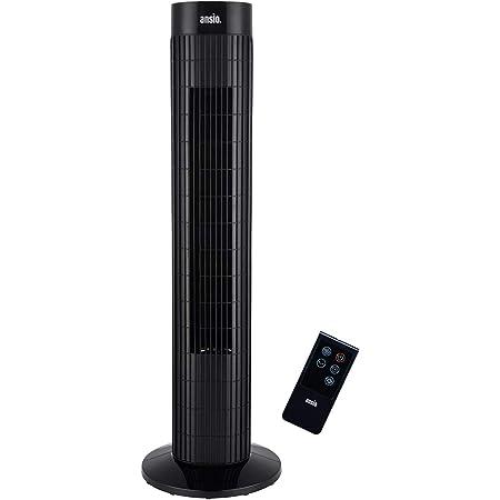 Ventilateur colonne à oscillations avec télécommande et 3 options de vitesse, 3 modes vent, avec long câble de 1,75 m, 30 pouces Noir (piles non incluses)