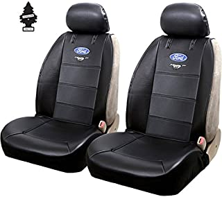 Yupbizauto Plasticolor New Pair of Blue Oval Mustang Logo for a Ford Compatible Cars Universal Sideless Seat Cover w/HeadRest and Air Freshener