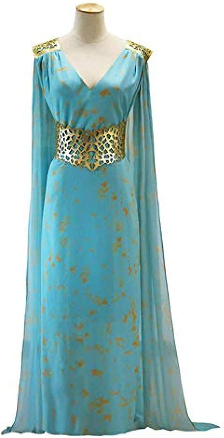 JUFENG Game Of Thrones Cosplay Dress Female Halloween Outfit Sexy bluee Female,blueeXL