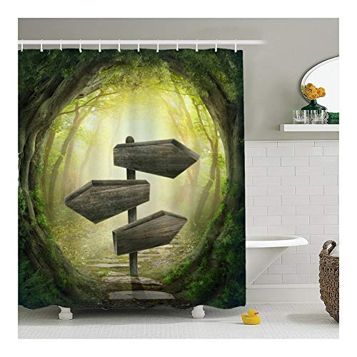 Cortina de ducha Jue Terror Verde y Suave Halloween Creativo Bosque mágico de impresión Cuarto de baño de Reparto Moho Cortina Impermeable yu (Color : H, Size : 180 * 180cm)