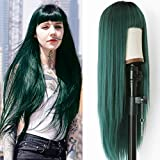 Friya Green Wig Straight Wigs With Air Bangs Machine Wigs Dark Rooted Ombre Green 2 Tone Color Long Heat Resistant Fiber Synthetic Hair Glueless 24 Inches