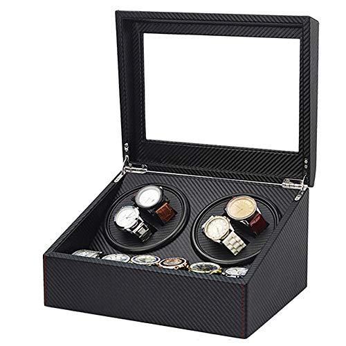 Chenshji Watch Winder Box Horlogekast met 4 sleuven en 6 voor opslag met stroomvoorziening via accu of adapter