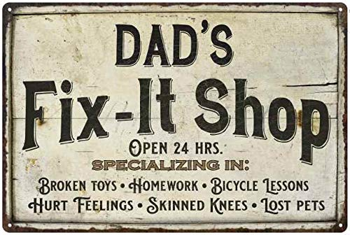 Chico Creek Signs Dad's Fix-it Shop Sign Garage Decor Man Cave Vintage Mechanic Wrench Men Dad Grandpa Workshop Decoration Gift 8x12 Metal 208120068011