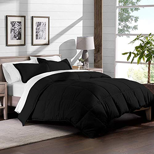 Best Bedding Store Egyptian Cotton 3 PC Comforter Set (1 Comforter + 2 Pillow Shams) 500 GSM Inner Fill Quilted Duvet Insert Down Alternative Light Weight Comforter Set (Black, King/Cal King)