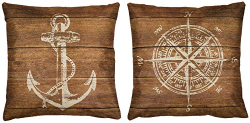 Puccybell Kissenbezug, Kissenhüllen 2er Set in maritimen Holz Design, Digitaldruck Zierkissen Hülle für Kissen 45 x 45 cm KB008 (Braun)