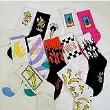 MIWNXM 10 Paires Mode Harajuku Rue Hip Hop Chaussettes Unisexe Drôle Hommes Chaussettes Heureux Skateboard Flamme Chaussettes Femmes
