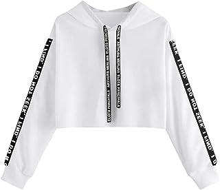 Sceoyche Fashion Women Long Sleeve Sweatshirt Hoodie Letter Print Pullover Top Blouse