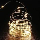 2 x Guirnaldas luminosas, 50 LED, largo 5M/16.5ft, micro alambre de cobre, funciona con pilas, para festiqvales, fiestas, pasillos, árboles, blanco cálido, iluminación exterior [clase energética A+]