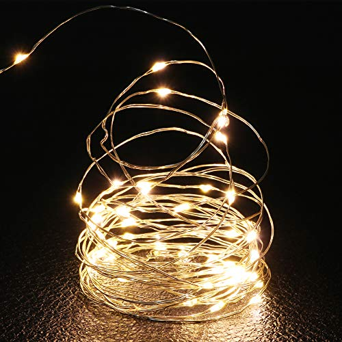 QHYK 2er Stück 50 LED Lichterkette, lang 5 M /16.5 ft, Micro Kupferdraht AA Batterie betrieb, für Festival, Party, Korridor Bäume, Warm-weiß, Außenbeleuchtung [Energieklasse A+]
