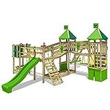 FATMOOSE Parco giochi in legno FunnyFortress Giochi da giardino con altalena SurfSwing e scivolo verdemela, Casetta da gioco per l'arrampicata con sabbiera e scala di risalita per bambini