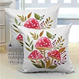 koniqiwa Nature Pillows Cover Aquarelle Amantias con otoño Temporada Follaje y Bayas Seta Ilustración Suave y Acogedor Antiarrugas