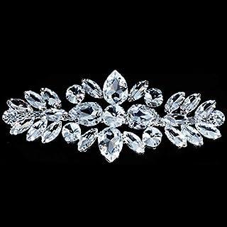 Diamantes Imitación Plateados Motivo Pedrería / diamantes Cristal Para coser Parche Aplique para la boda de boda Casual Formal Adorno Accesorio Moda 110mm x 50mm de Trimming Shop