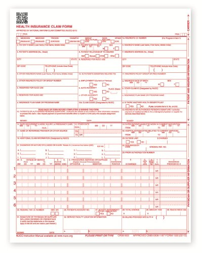 New CMS 1500 Health Insurance Claim Forms, HCFA Approved Version (02/12) - 1,000 Forms