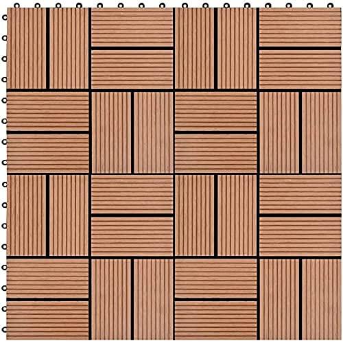 Sistema de Enclavamiento 22 Piezas, para Patios, Balcones, baños o Piscinas o Zonas de SPA 30x30 cm 2m2 (Color: Marrón)