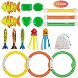 Anpro 16 PCS Juguete Piscina de Buceo para Niños,Juegos de Agua en Verano, Kit de Regalo para Niños