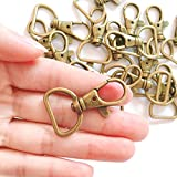 """YIXI-SBest 20Pcs 360° Metal Swivel Trigger Snap Hooks Lobster Claw Clasps, Wide 3/4 Inch D Ring, Large Size Keychain Hooks, 20mm in ID, 40mm in Length, (3/4"""", Antique Brass)"""